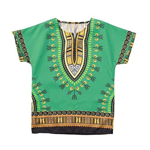 LOPILY Camiseta De Manga Corta para NiñOs De Algodón Unisex Bright Africa Color O-Cuello Dashiki para Niños Tops