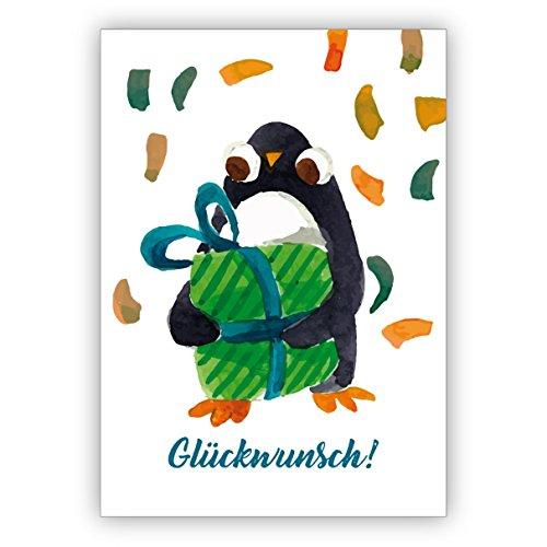 Mooie geschilderde wenskaart met pinguïn & geschenk als wenskaart voor overstap, eerste schooldag, verjaardag en wat er nog te vieren is: felicitatie • ook directe verzending met inlegtekst