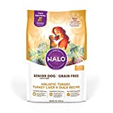 Halo Grain Free Natural Dry Dog Food - Senior Dog Recipe - Premium and Holistic Turkey, Turkey Liver & Duck Recipe - 4 Pound Bag - Sustainably Sourced Adult Dog Food - Non-GMO and Highly Digestible