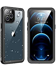 """SPIDERCASE Designed for iPhone 12 Pro Max Case, Waterproof Built-in Screen Protector, Shockproof Full Body Cover Rugged Case for iPhone 12 Pro Max 6.7"""", Black/Clear"""