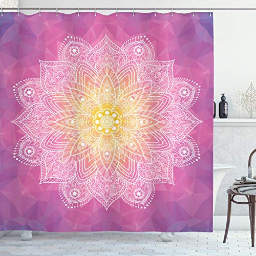 ABAKUHAUS Mandala Duschvorhang, Asian Mandala Blumenkunst, Digital auf Stoff Bedruckt inkl.12 Haken Farbfest Wasser Bakterie Resistent, 175 x 240 cm, Fuchsia Gelb