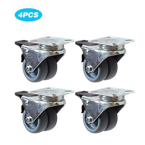 NLYWB Caster Wheels, 2 Inch Rubber Heavy Duty Swivel Caster Wheels met Remmen, Swivel Casters voor Winkelwagens, Trolley, Werkbank, Set van 4