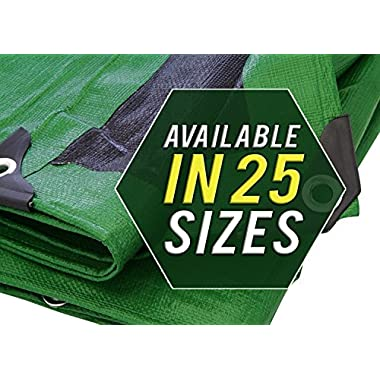 Trademark Supplies Heavy Duty Thick Material Waterproof Tarp Cover, 10X20-Feet, Green/Black