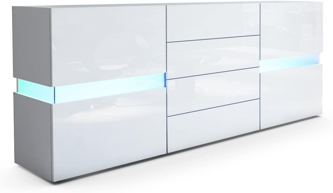 Korpus in Wei/ß matt//Front in Wei/ß Hochglanz inkl Vladon Sideboard Kommode Flow LED Beleuchtung