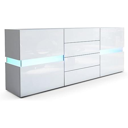Vladon Buffet Commode Flow, Corps en Blanc Mat/Façades en Blanc Haute Brillance avec l'éclairage LED