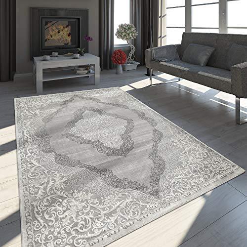 Paco Home Tapis Oriental Moderne Effet 3D Chiné Scintillant Ornements Gris Blanc, Dimension:160x230 cm