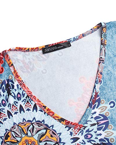 ZANZEA Vestidos Sudadera Mujer Impresión Cuello V Manga Larga Otoño Jerseys de Punto Largos Casual Tallas Grandes Suéter Suelta Floral 1 XXL
