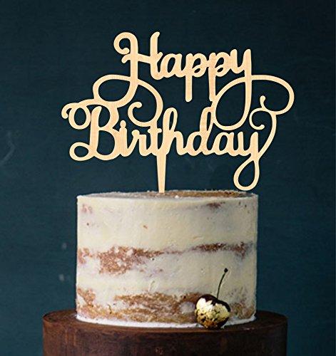 Manschin Laserdesign Cake Topper, Happy Birthday, Tortenstecker Geburtstag, Tortefigur Acryl, Farbwahl - (Holz)
