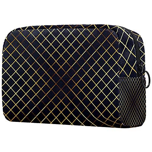 FURINKAZAN Bolsa de maquillaje de viaje con diseño de escotilla cruzada, color negro, dorado, para artículos de tocador, bolsa de maquillaje para hombres y mujeres