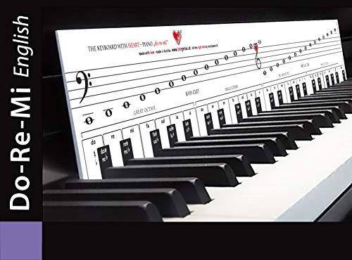 """KLAVIERSPIELEN lernen mit DoReMi """"Klaviatur mit Herz"""" Tastenschablone/Klavierschule: Musiknoten, Tastenorientierung - Lernhilfe für Klavier & Piano"""
