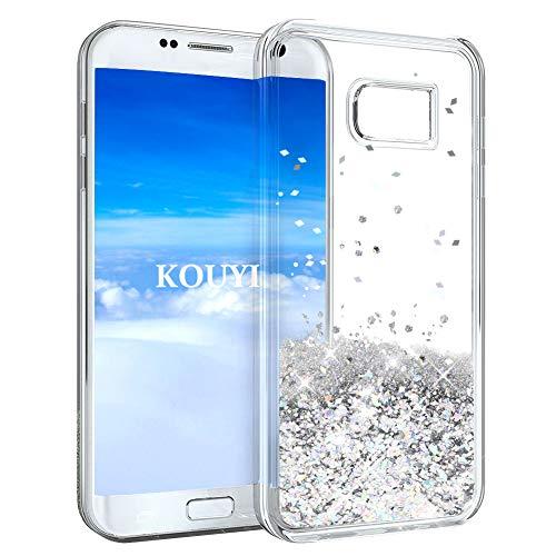 KOUYI Cover Galaxy S7, 3D Glitter Chiaro Liquido Silicone TPU Bumper Telefoni Telefono Cellulari Protezione Cover,3D Bling Protettiva Case Custodia per Samsung Galaxy S7 (Argento)