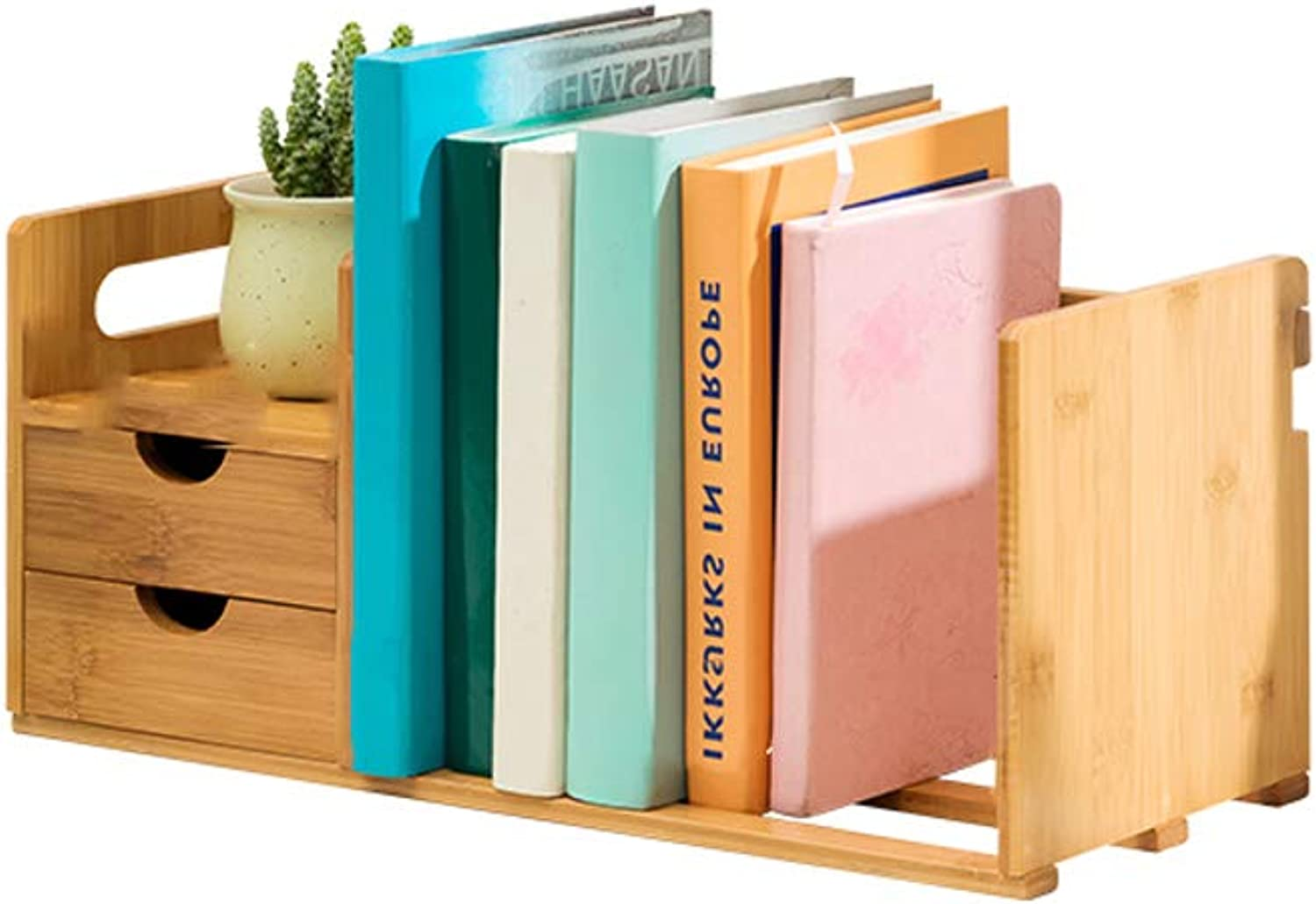 YAXIAO Desktop Bookshelf Simple Desk On The Sundries Book Storage Rack Multi-Layer Double Drawer Bookcase 50x19x21cm Bookshelf