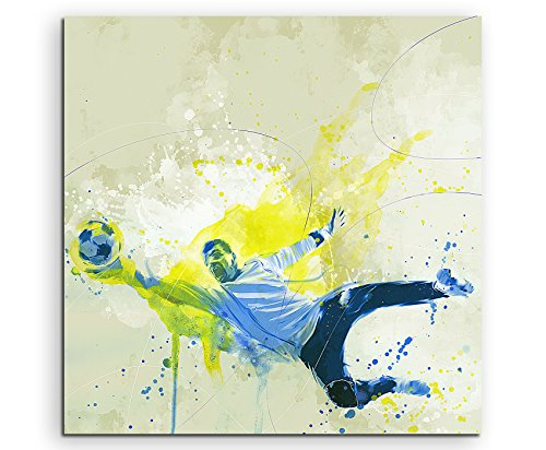 Paul Sinus Art Fussball Torwart 60x60cm SPORTBILDER Splash Art Wandbild Aquarell Art