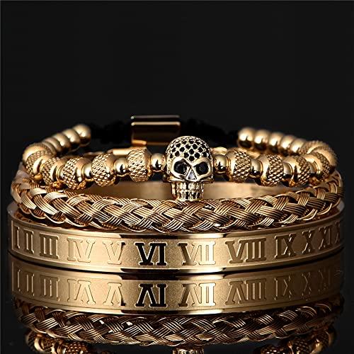 xingguang Pulsera de calavera de 3 piezas / Set de lujo de color dorado trenzado ajustable (color metálico: juego de oro)