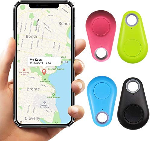 4 Pack Smart Tracker Key Finder Locator, Pet Tracker Wireless Anti Lost Alarm Sensor Bidirectional Positioning for Kids, Old People, APP Control Compatible iOS Android (Black/Green/Blue/Pink)