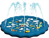"""SplashEZ 3-in-1 Splash Pad, Sprinkler for Kids, and Wading Pool for Learning – Children's Sprinkler Pool, 60'' Inflatable Water Toys – """"from A to Z"""" Outdoor Swimming Pool for Babies and Toddlers"""