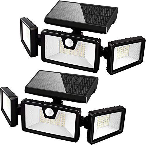 Otdair Solar Security Lights, 3 Head Adjustable Motion Sensor Lights 132LED Flood Lights Outdoor Spotlights 360° Rotatable IP65 Waterproof for Garden Patio Yard Porch Garage Pathway