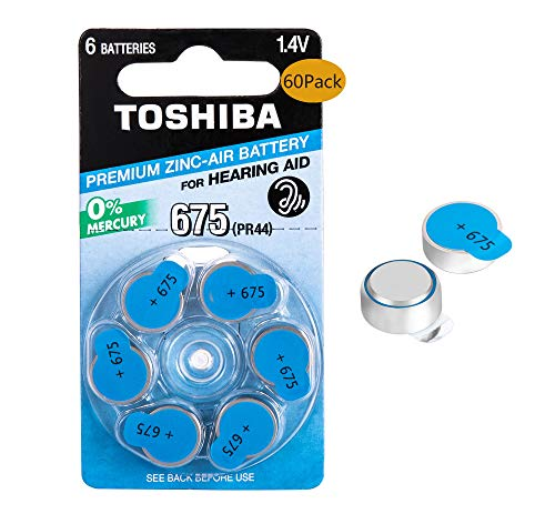 Toshiba Premium Zinc Hearing Aid Batteries,1.4V Size 675,PR44, 60-Count