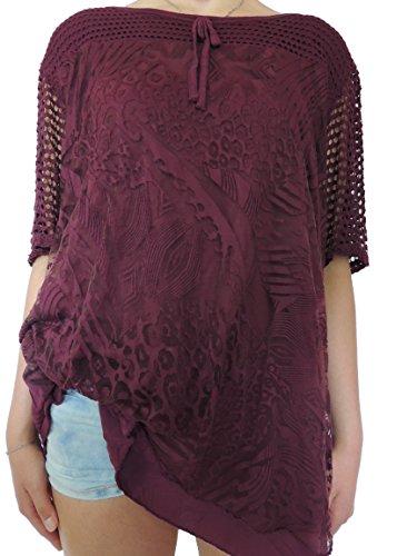 Viele Damen Blusen Shirts Größe 46 48 50 52 54 (Weinrot)