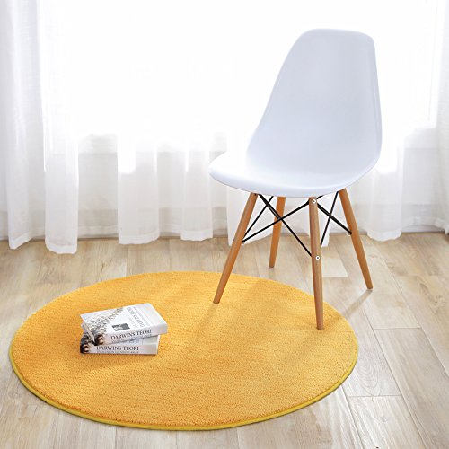 KiKom - Alfombra Redonda de Color Sólido para Sala de Estar Dormitorio Salón Estudio Canasta Colgante Silla para Computadora Alfombra para Niños - 80 cm, Amarillo
