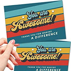 THE PERFECT MESSAGE TO BOOST MORALE - Our cards are the perfect way to express appreciation to anyone, from employees, to volunteers, to donors. AFFORDABLE - Our bulk 50 cards deliver the greatest value. Plus, postage costs less for postcards! FUN RE...