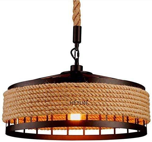 Plafonnière, henneptouw, antiek touw, keukeneiland, industriële plafondlamp, bevestiging, creatief retro-kroonluchter, ouderwetse jute ijzeren kroonluchter, draagbare lampenkap (grootte: 40 cm)