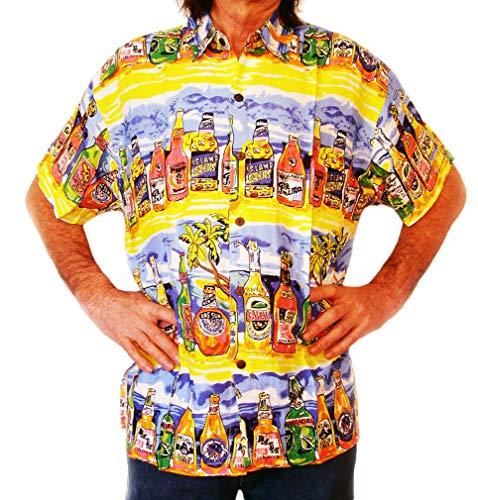 Double Duck Chemise Hawaïenne Hommes Jaune avec Tropical Bouteilles Bière, Vacances, Cerf Nuit, Fête - Jaune avec Bleu, XL