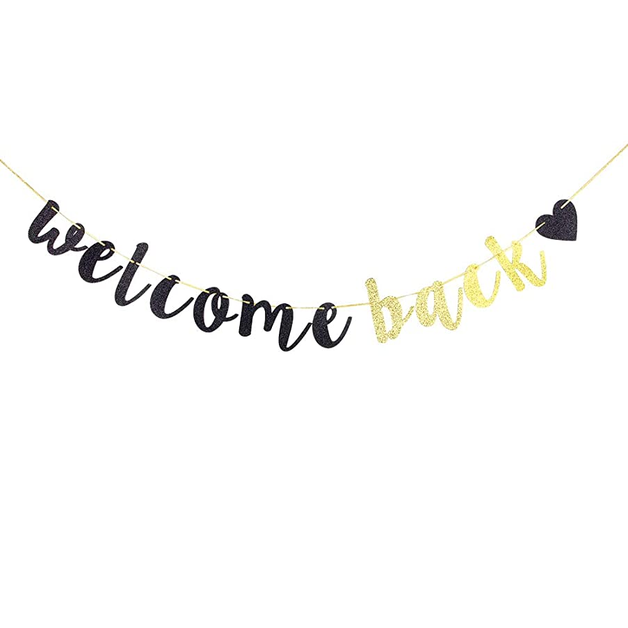 Welcome Back Banner,Black and Gold Glitter Retirement Party Banner, Moving Away,Retirement Party Decorations Sign, First Day of School Teacher