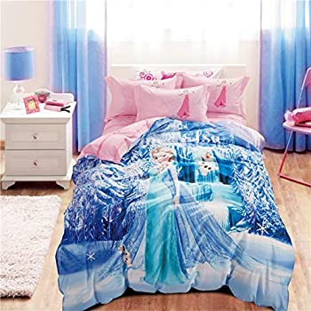 Casa 100% Cotton Kids Bedding Set Girls Princess Elsa Duvet Cover and Pillow Cases and Fitted Sheet,Girls,4 Pieces,Queen