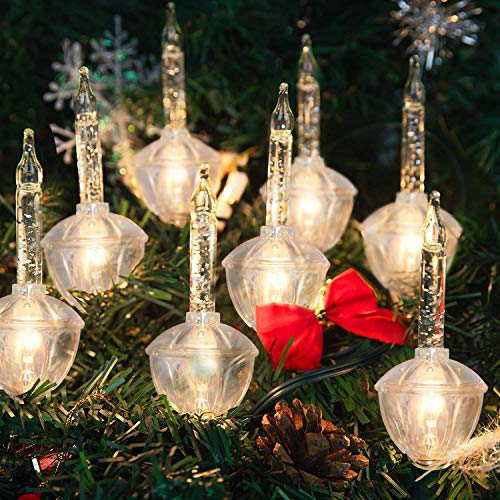 Christmas Bubble Lights Vintage Light String Set, 7 Clear Bubble Fluids with Silver Glitter (Plus 1 Spare Bulbs), C7/E12 Candelabra Base, UL-Listed for Holiday Christmas Lighting, Green Wire