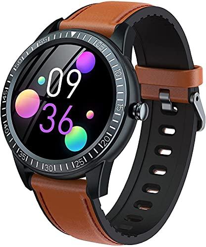 QHG Bluetooth Call Music Control Smart Watch Monitor de Ritmo cardíaco Sleep Tracker Heart Watch para Hombres Mujeres Deportes Fitness Tracker para iOS y Androide (Color : Brown)