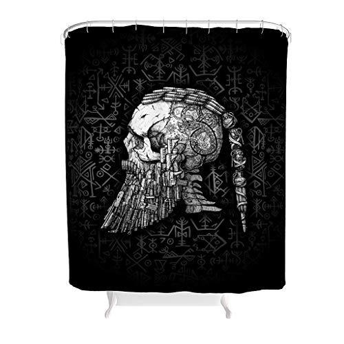 RQPPY Digitaldruck Vikings Duschvorhang mit Reinigungs Bad Vorhang White 150x200cm