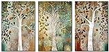 RuiChuangKeJi Cuadros de Pared 3 Piezas 40x60cm Sin Marco Cartel del árbol de la Vida Gustav Klimt Pintura Paisaje Escandinavo Árbol Abstracto Impresiones en Lienzo Decoración para Sala de Estar