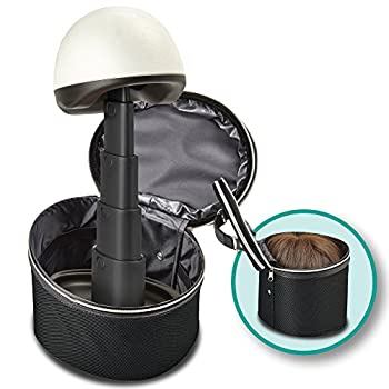 Wig Head and Travel Case - 2 Piece Travelling Kit - Adjustable Length Stand For Home or Salon - Portable Carrying Box - Black Case with Black Head - by Adolfo Design