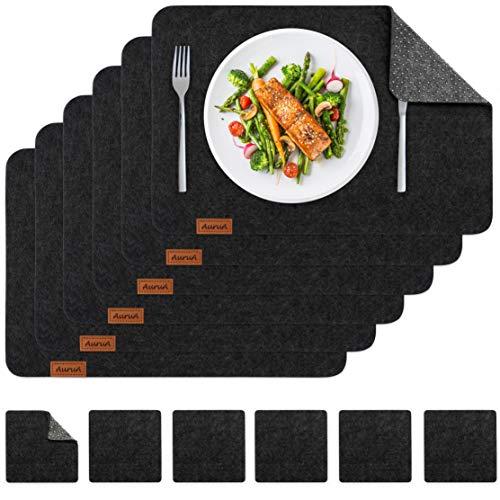 AuruA® Platzset Filz, 12er Tischset abwischbar, rutschfeste Unterseite, 6 Tischunterlagen + 6 Untersetzer, Tisch-Deko mit Leder-Patch, 45 x 30 cm