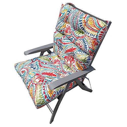 Cojín reclinable para silla de jardín con núcleo de espuma suave para silla de jardín y sillones multifuncionales, 120 x 50 x 10 cm