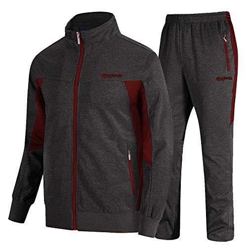 donhobo Chándal para hombre, chándal deportivo de fútbol, pantalones deportivos con capucha, pantalones para el gimnasio 02Dark Grey Red XXL