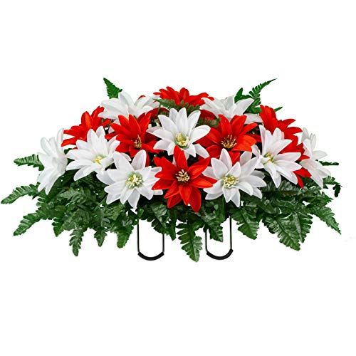 Sympathy Silks Artificial Cemetery Flowers – Realistic – Outdoor Grave Decorations – Non-Bleed Colors, and Easy Fit – Red & White Dahlia- Saddle – for Headstone Silk Flower Arrangements