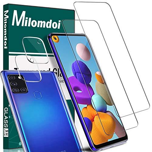 Milomdoi [4 Unidades] 2 Unidades Cristal Templado +2 Unidades Protector Cámara para Samsung Galaxy A21S, Protector Pantalla con Protector de Lente de Cámara Sin Burbujas HD [Anti-Arañazos]