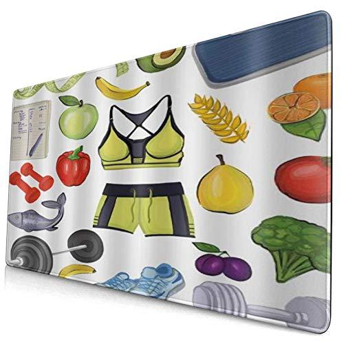 DYCBNESS Tapis de Souris Gamer 40x75cm Thème de Remise en Forme Gym Work Out Exercice Entraînement Physique Régime Alimentaire Légumes pour Groupes de santé Protecteur de Bureau