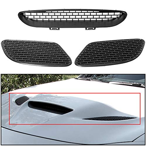 ECOTRIC Hood Bezel Vent Compatible with 2015-2018 Challenger SRT HELLCAT & 2019-2021 R/T SCAT PACK Black Replace for 68184348AD, 68184348AB, 68184348AF, 68184352AB, 68184353AB