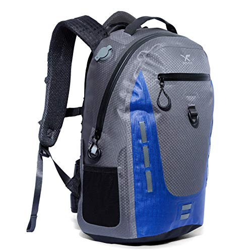 Xelfly 18L Submersipack Waterproof Backpack - Submersible, Inflatable, Floating TPU Coated Durable Nylon Dry Bag with Airtight Zipper for Kayak, Fishing, Boating, Hiking, Paddle Board, Deep Blue, 18L