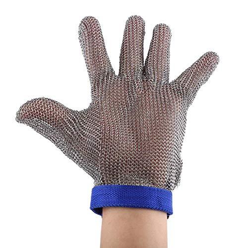 Akozon Guanti Resistenti Taglio Livello 5 Protezione Acciaio Inossidabile Antitaglio SS304 Guanto Maglia di Metallo Inox per Cucina Preparazione per Cibo Cucina Giard Lavori All'aperto