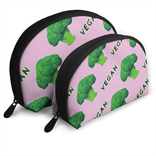 Brocoli - Sac de toilette de luxe en forme de coquillages - Vert végétalien - Rose