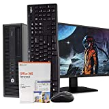 HP 600 G2 Desktop Computer PC, Intel i5, 16GB, 2TB, Windows 10 Pro, New 23.6' FHD V7 LED Monitor, Microsoft Office 365 Personal, New 16GB Flash Drive, Wireless Keyboard & Mouse, WiFi, DVD (Renewed)