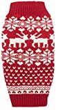 Red Christmas Reindeer Holiday Festive Dog Sweater for Dogs,L Size Back Length 16'