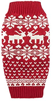 Red Christmas Reindeer Holiday Festive Dog Sweater for Puppy Small Dogs X-Small  XS  Size