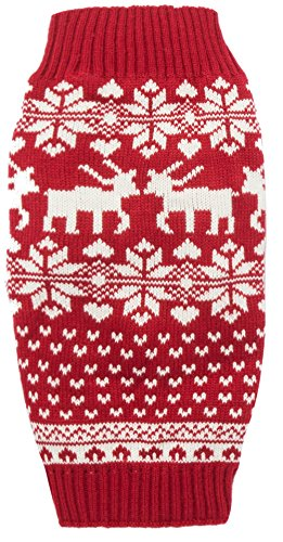 Red Christmas Reindeer Holiday Festive Dog Sweater for Puppy Small Dogs, X-Small (XS) Size
