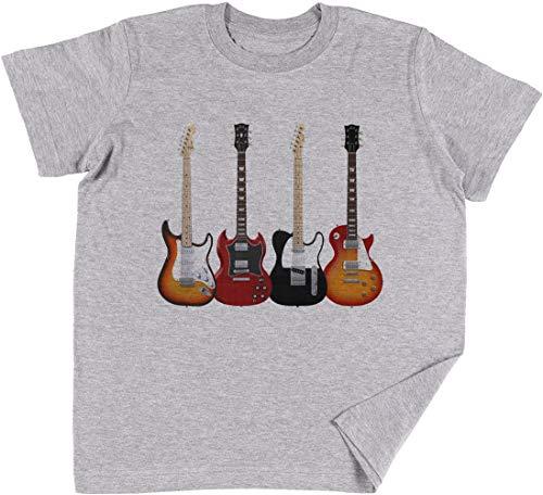 Vendax Cuatro Eléctrico Guitarras Niños Chicos Chicas Unisexo Camiseta Gris