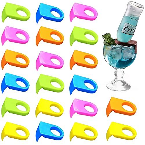 morningrising 20pcs ABS bebida botella de Clips hebilla soportes cerveza cóctel Snap para goleta y copa gafas (color al azar)